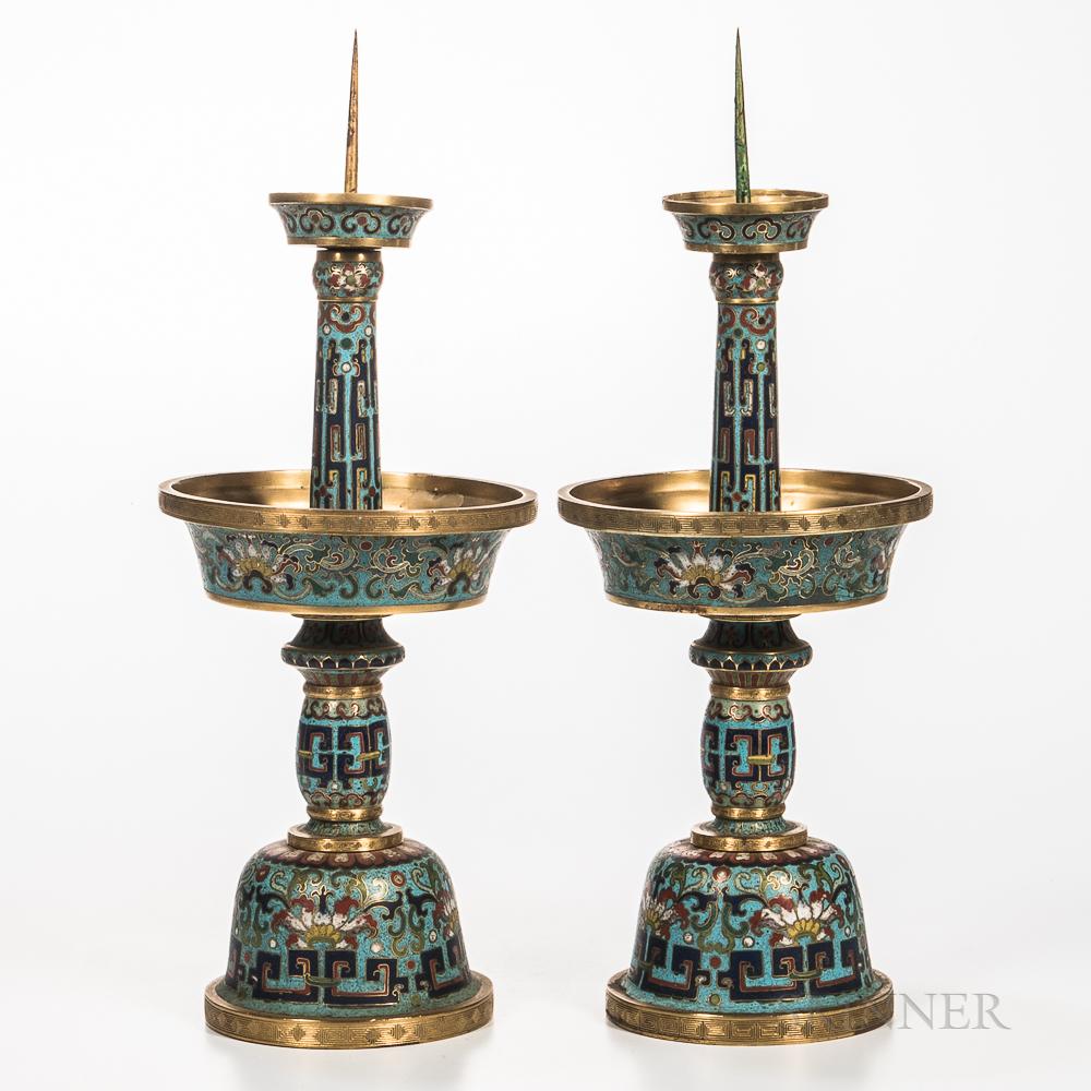Pair of Cloisonne Candlesticks