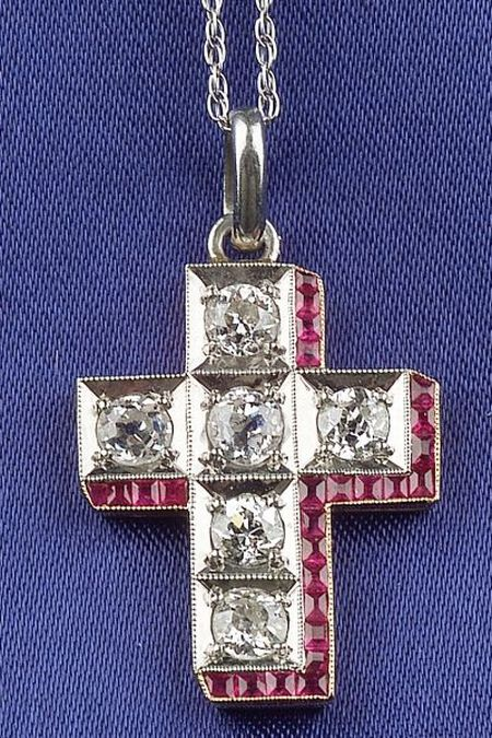Edwardian Ruby and Diamond Cross Pendant