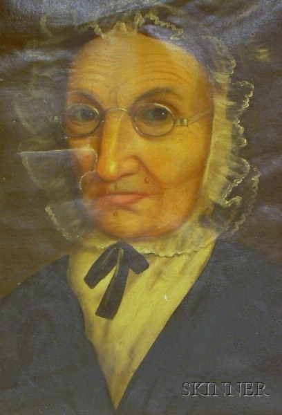 Oil on Canvas Portrait of Old Woman with Spectacles.