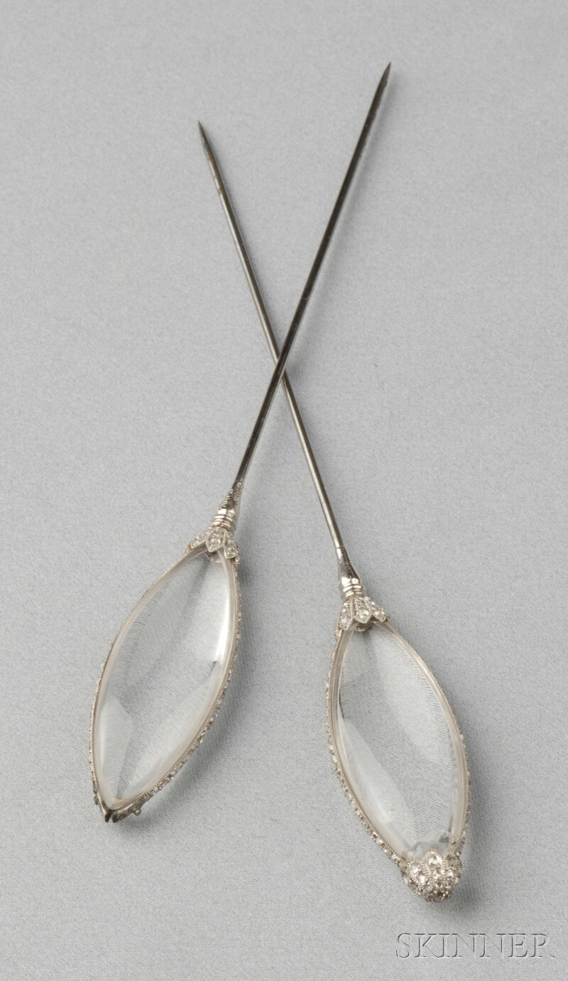 Pair of Platinum, Rock Crystal, and Diamond Hat Pins, Cartier