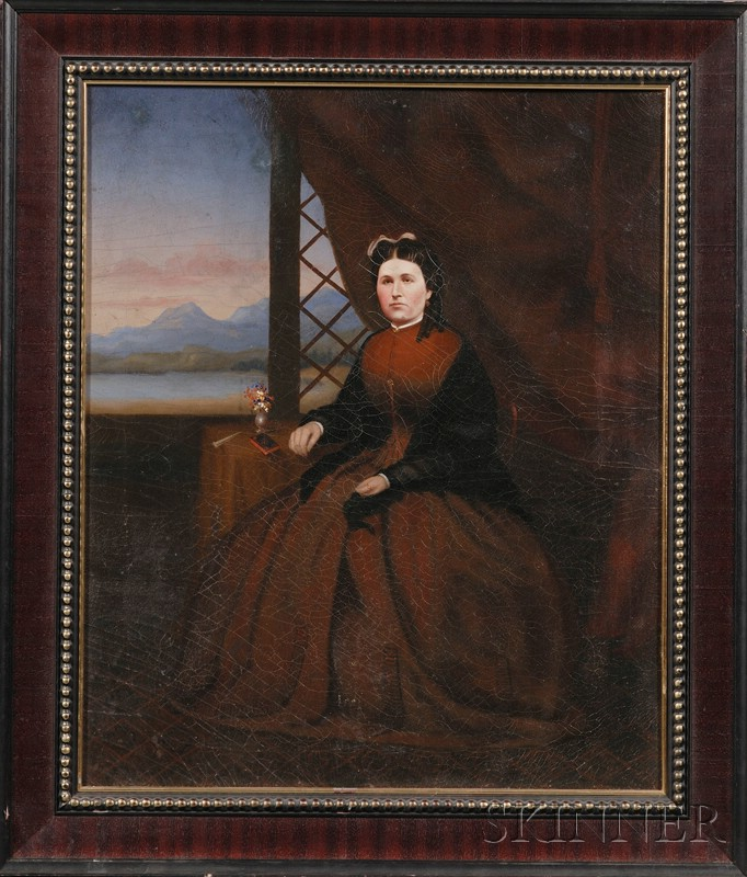Chinese/American School, 19th Century      Portrait of a Woman Seated by a Window with Mountain View.