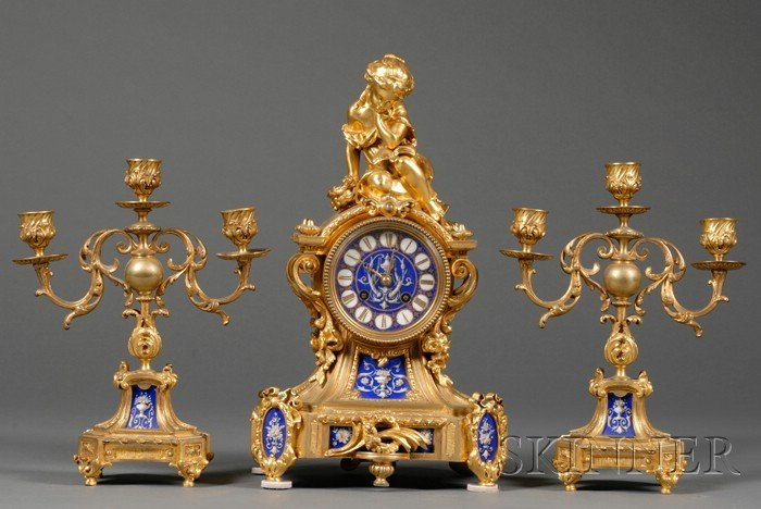 Three Piece Louis XV Style Gilt Bronze and Porcelain-mounted Clock Garniture