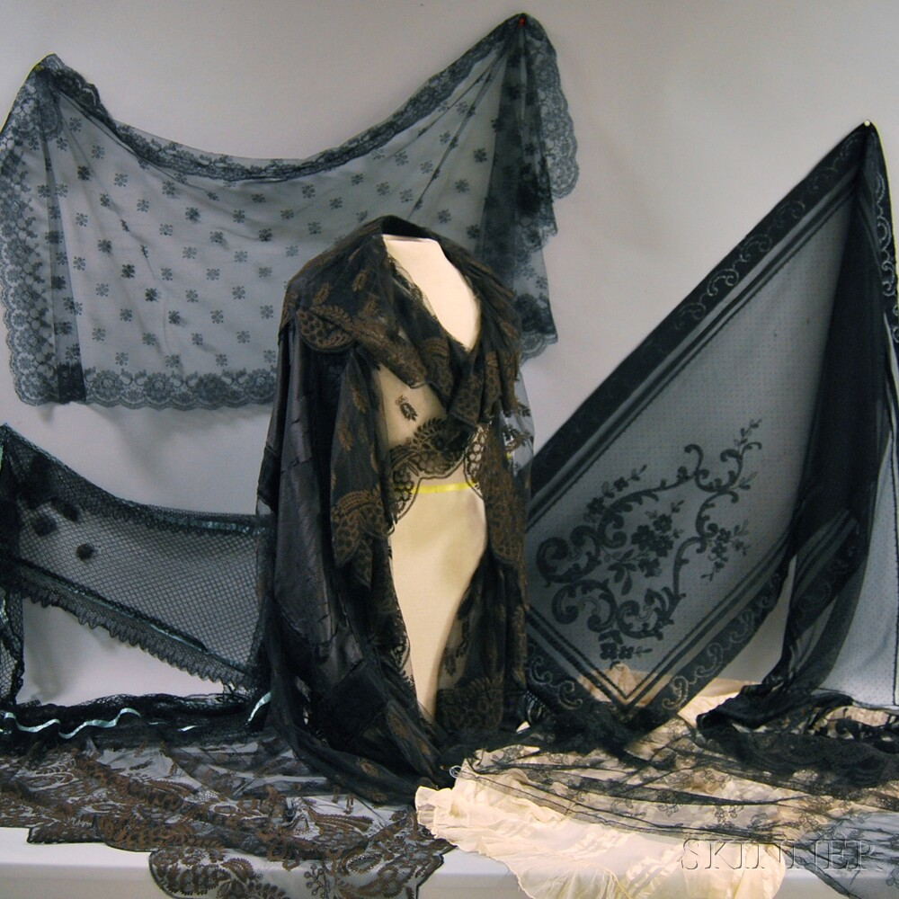 Group of Lace and Silk Lady's Fashion Accessories