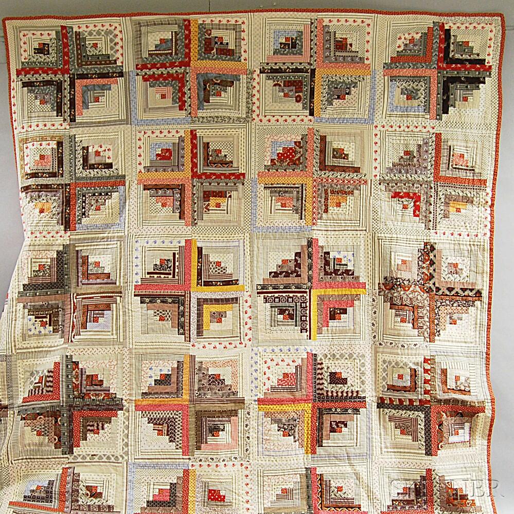 Pieced Log Cabin Court Steps-pattern Cotton Quilt