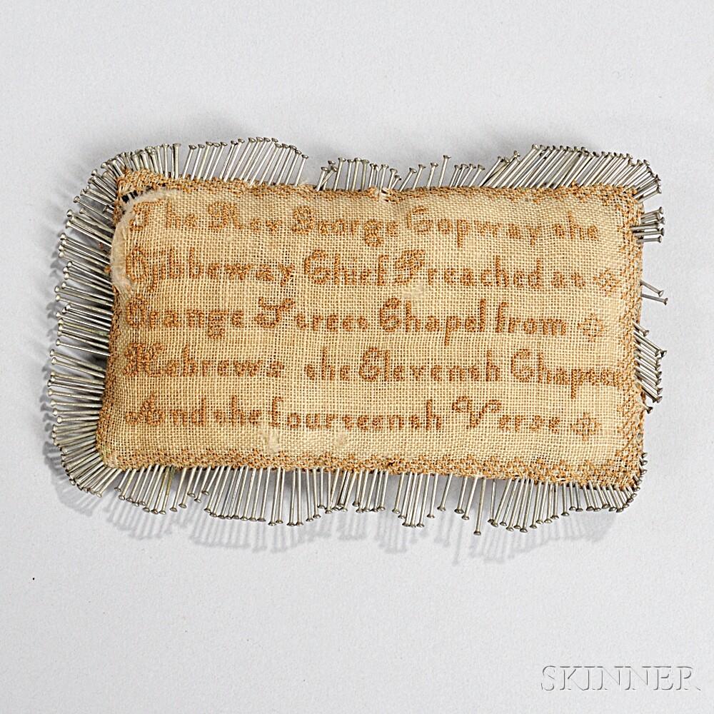 Silk Embroidered Ojibwa Minister George Copway Pincushion