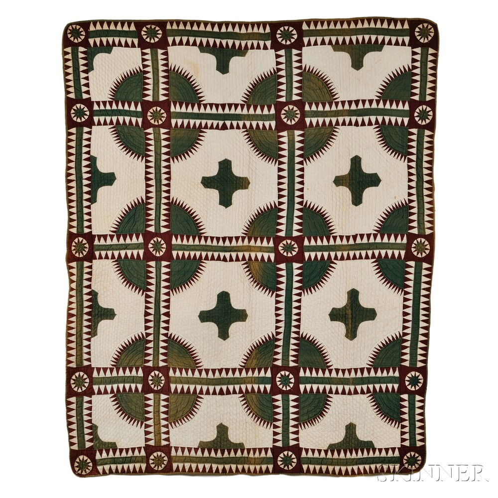 "Brown and Green ""New York Beauty"" Variant Patchwork Quilt"