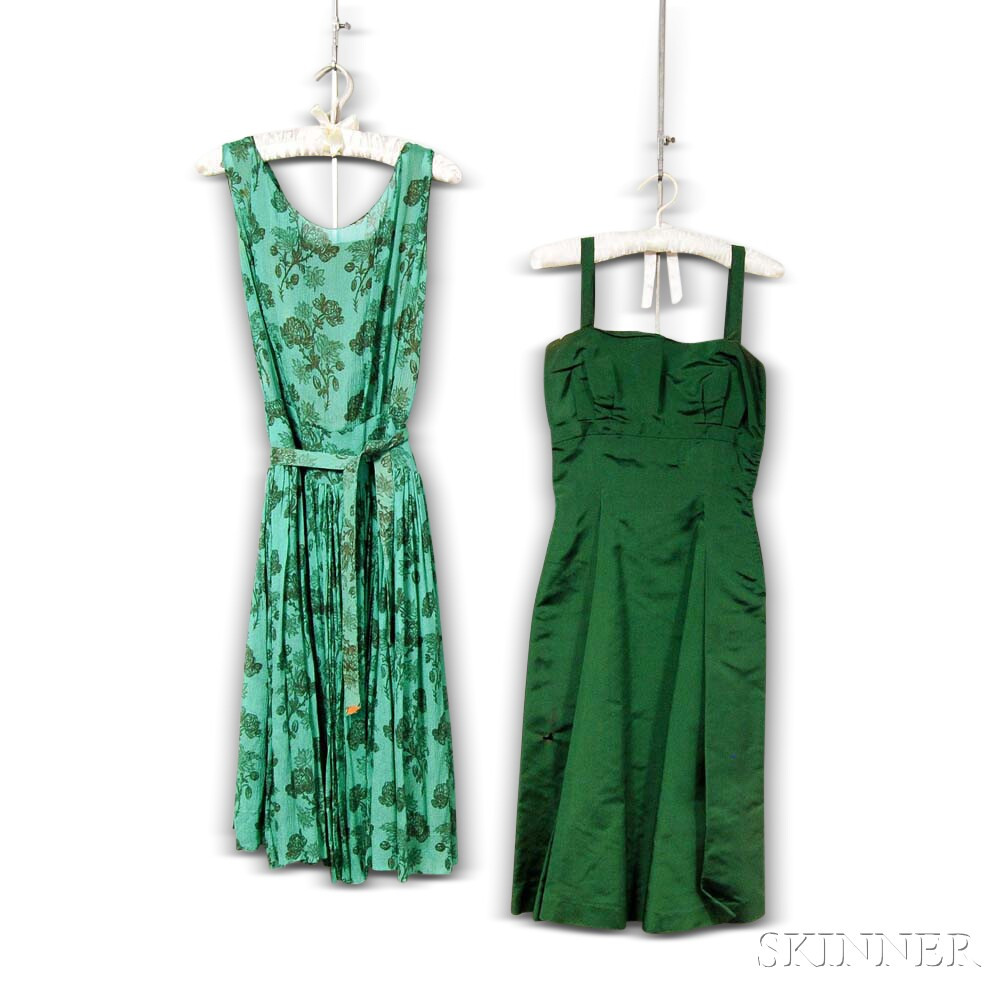 Miss Worths Green Printed Crepe Dress and Green Silk Cocktail Dress