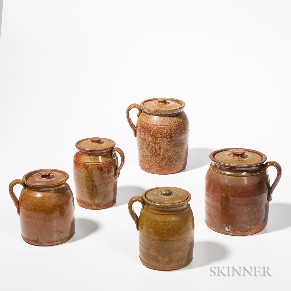 Five Glazed Redware Lidded Jars