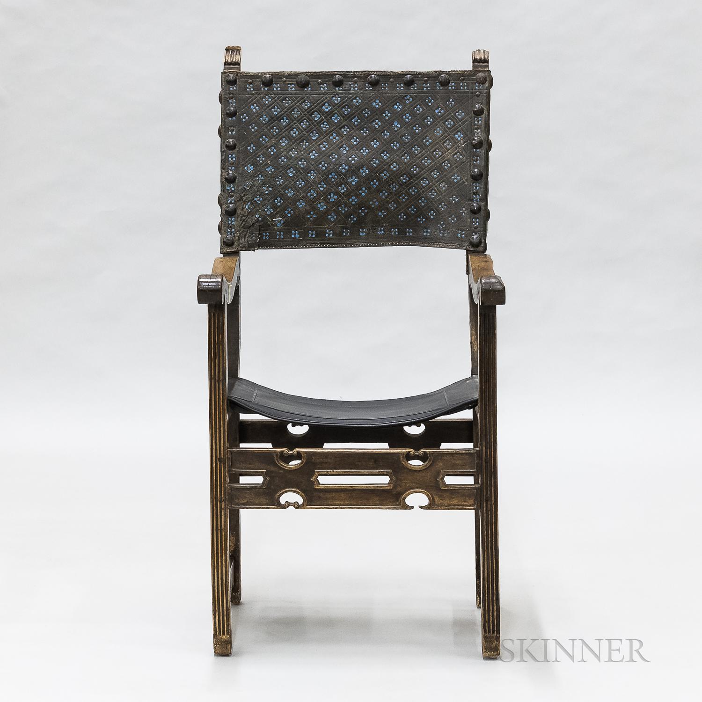 Renaissance Carved Walnut Armchair