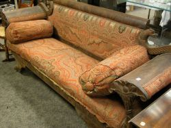 Classical Carved Mahogany Paisley Upholstered Sofa.