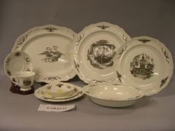 Sixty-eight Piece Wedgwood Black and White Philadelphia Pattern Transfer Decorated   Queen's Ware Dinner Service