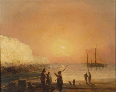 Jacques van Gingelen (Belgian, 1801-1864)    Harbor at Sunset.