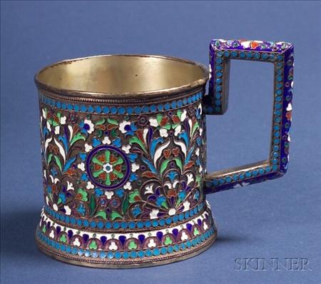 Russian Silver Enamel Tea Glass Frame