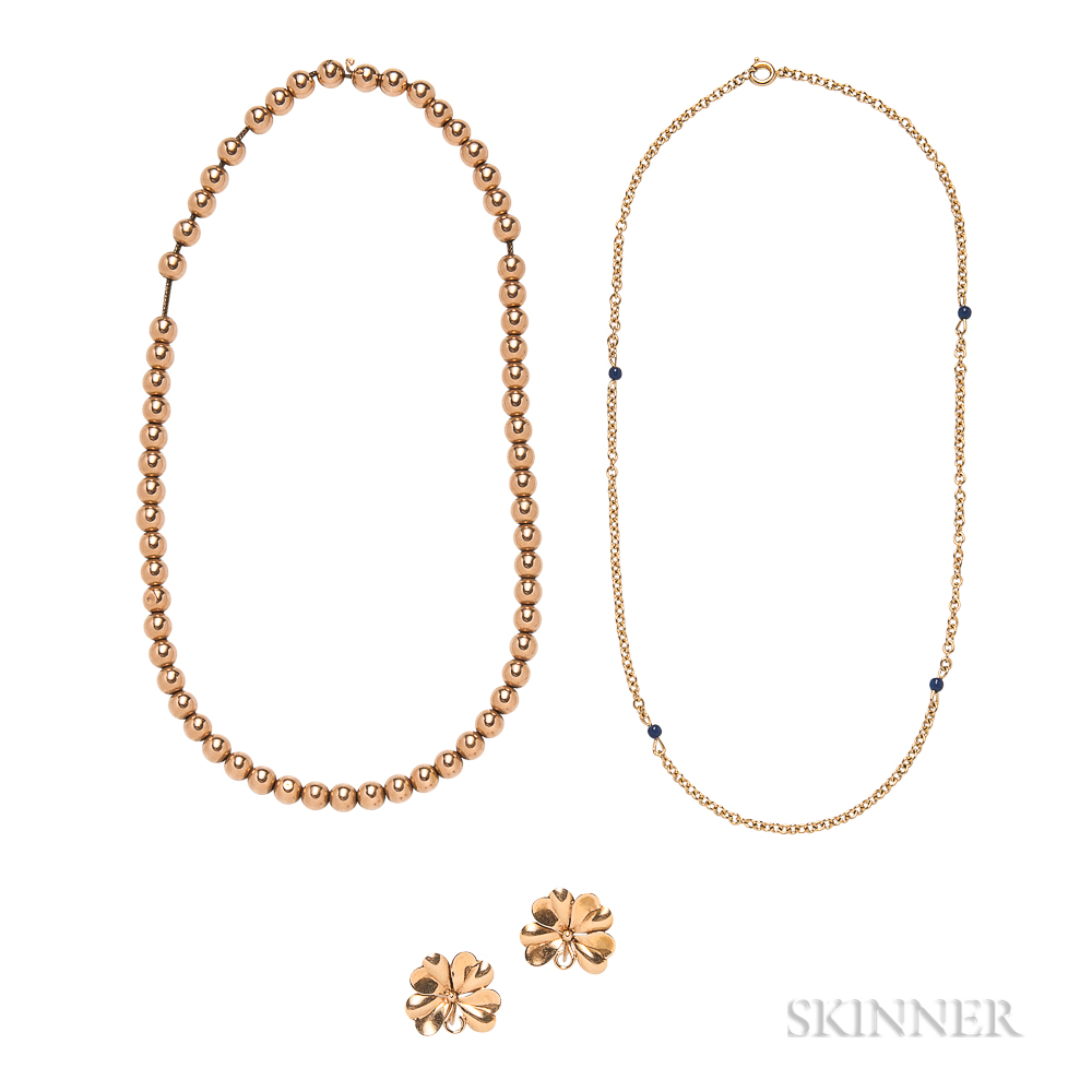 14kt Gold Bead Necklace, a Pair of 14kt Gold Clover Earclips, and a Gold-plated and Lapis Necklace