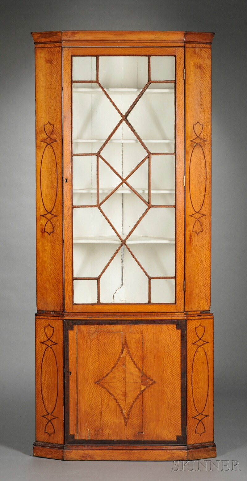 Inlaid Satinwood Corner Cupboard