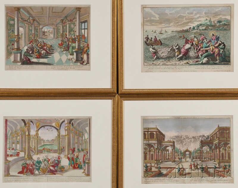 Georg Balthasar Probst (German, 1673-1748)      Four Framed Hand-colored Engravings.
