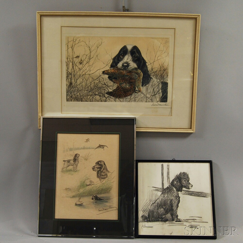 Three Framed Works of Dogs:      Leon Danchin (American, 1887-1939), Hound with Woodcock