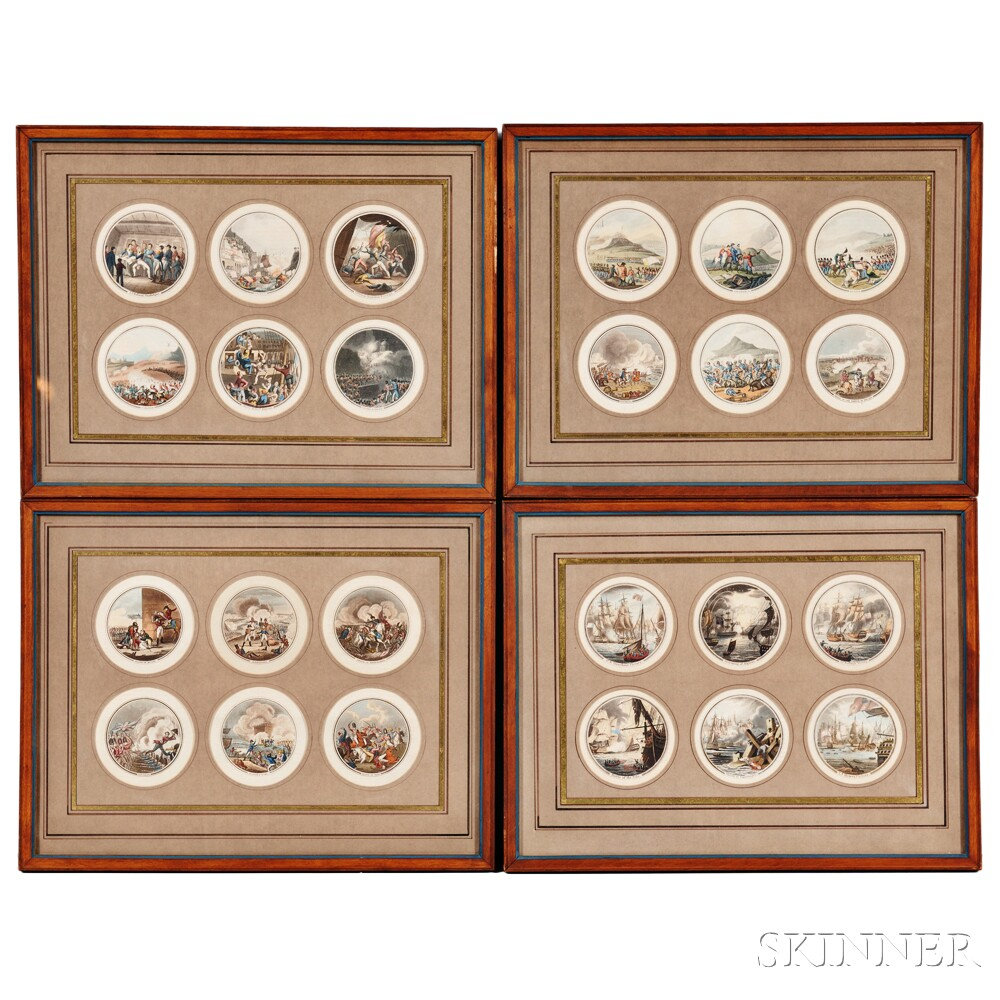 British School, 19th Century, Twenty-four Miniature Engravings of English and French Battles, including Scenes of the Napoleonic Wars,