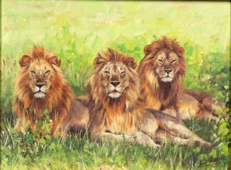 David Stribbling (British, b. 1959)    Lot of Two Works: A Pride of Lions