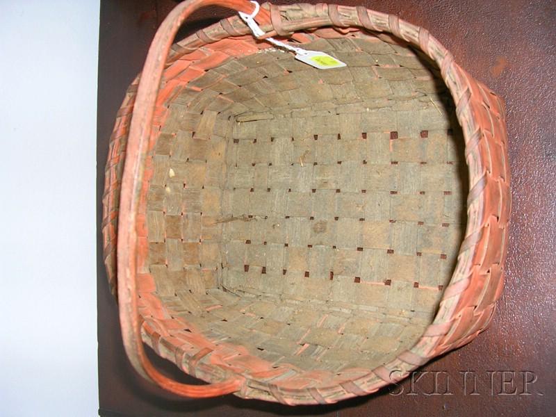 Salmon-painted Woven Splint Basket
