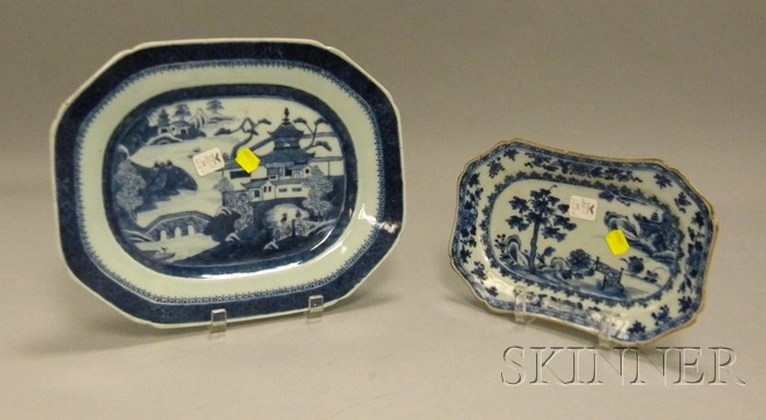 Chinese Export Porcelain Canton Platter and Nanking Platter