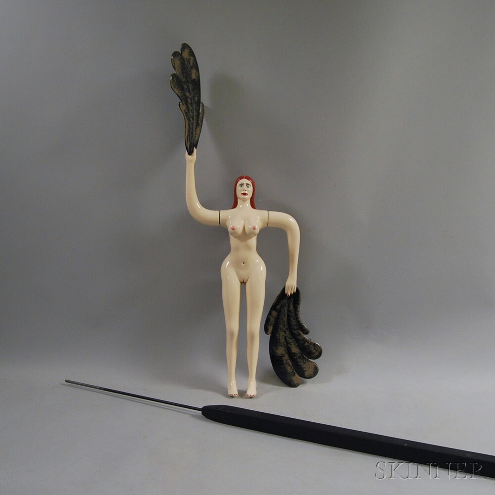 Folk Art Whirligig of a Nude Woman Holding Feather Fans