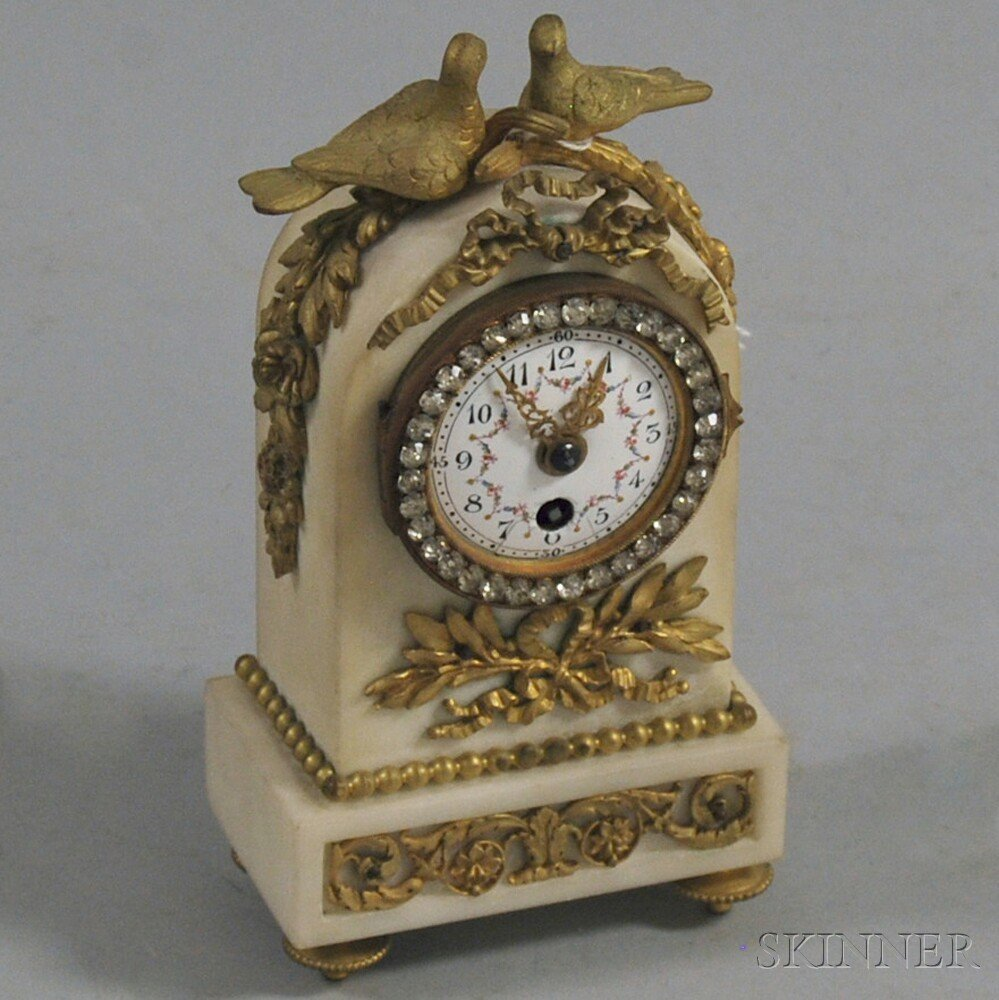 Ormolu and White Marble Boudoir Clock