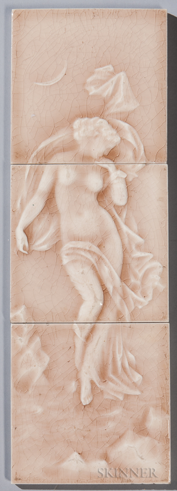 Providential Tile Works Three-part Pottery Tile of a Nude
