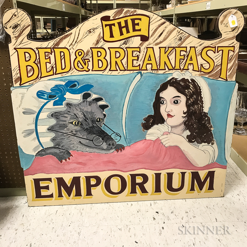 """Paint-decorated Wood """"The Bed & Breakfast Emporium"""" Trade Sign"""