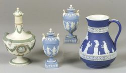 Wedgwood Dark Blue Jasper Dip Jug, a Pair of Small Light Blue Jasper Dip Lidded Urns and a Lidded Three-Color Bottle.
