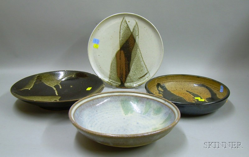 Four Art Studio Low Bowls and Plates