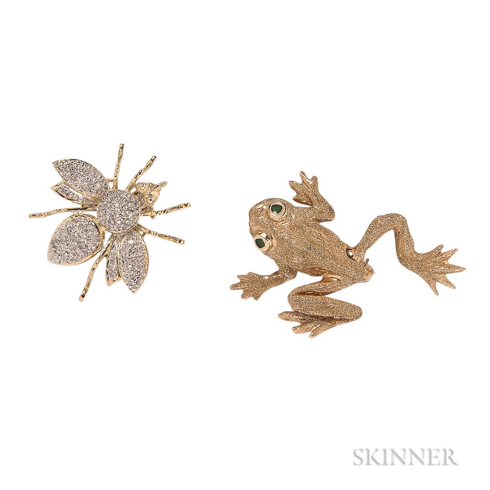 14kt Bicolor Gold Fly Brooch and 14kt Gold Gem-set Frog Brooch
