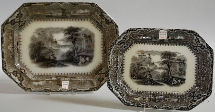 Two Staffordshire Mulberry Transfer-decorated Ironstone Platters