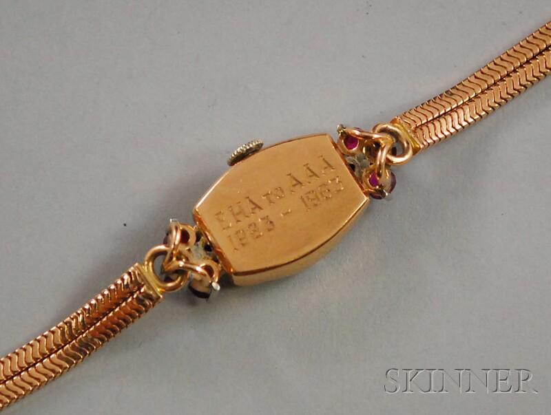 Retro 14kt Rose Gold, Ruby, and Diamond Wristwatch