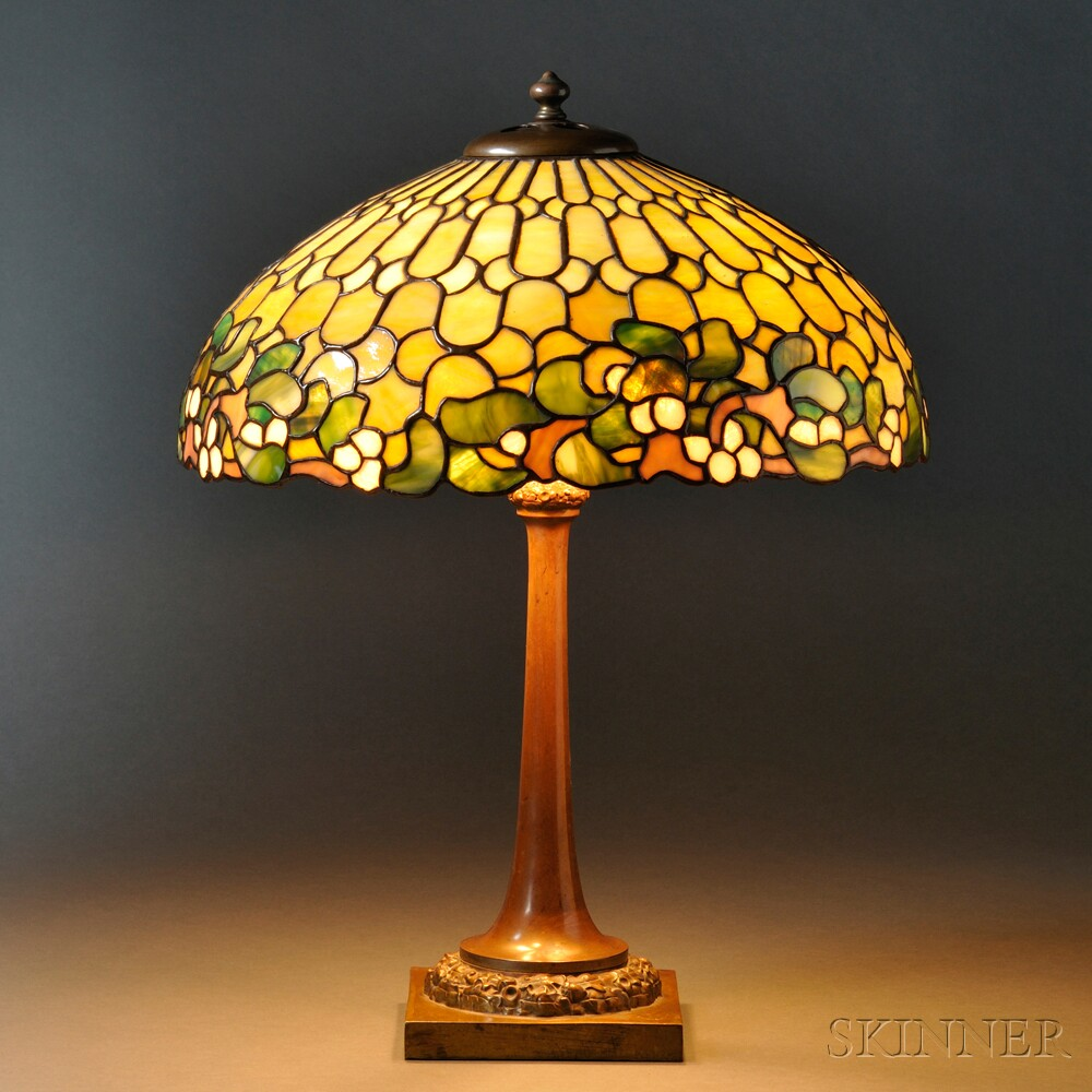Mosaic Glass Mistletoe Table Lamp Attributed to Duffner & Kimberly