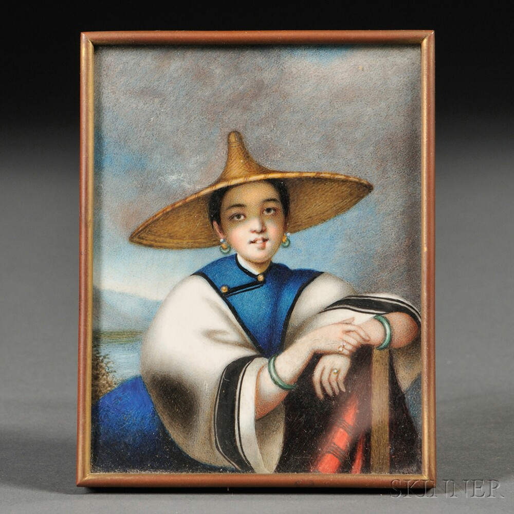 Chinese School, 19th Century      Portrait Miniature of a Chinese Woman.