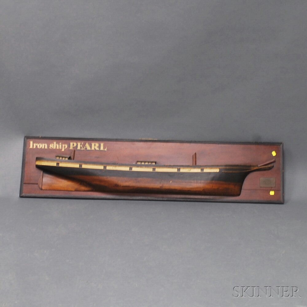 Painted and Mounted Half-hull Ship Model of the Pearl