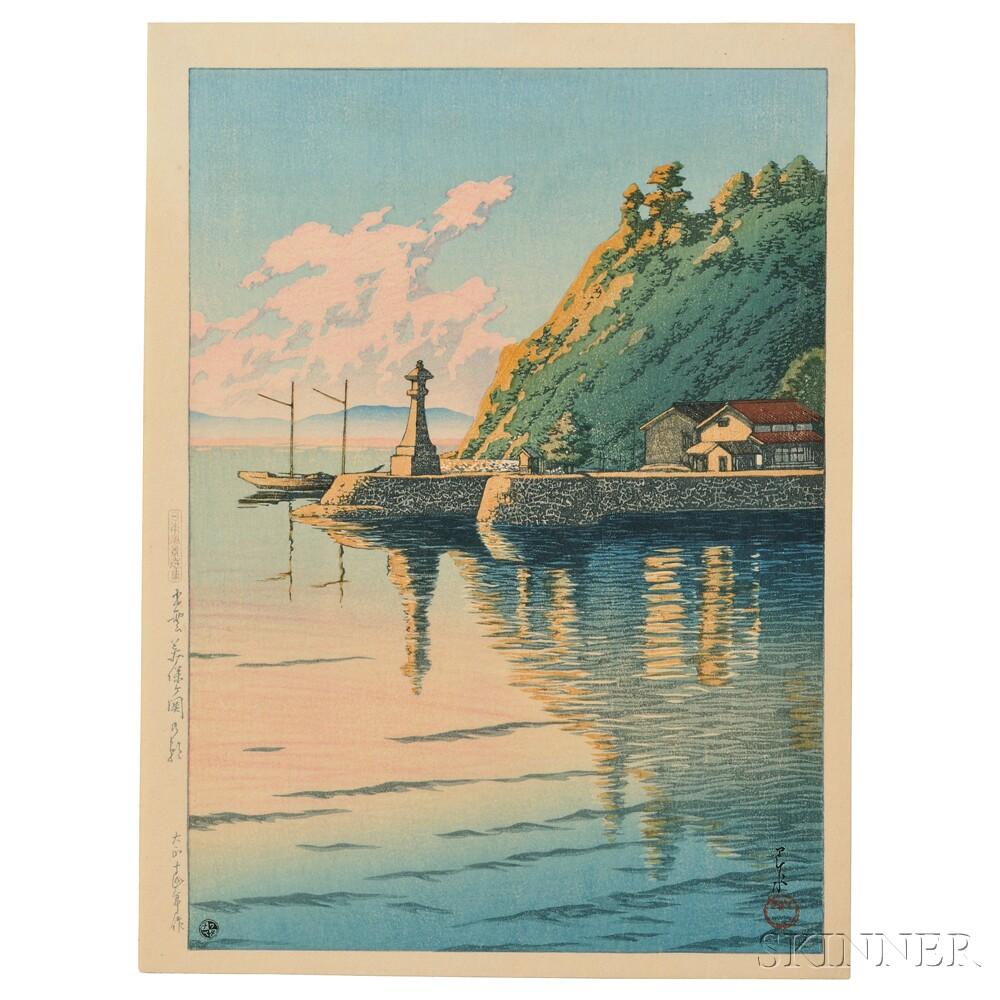 Kawase Hasui (1883-1957), Morning at Mihogaseki, Izumo