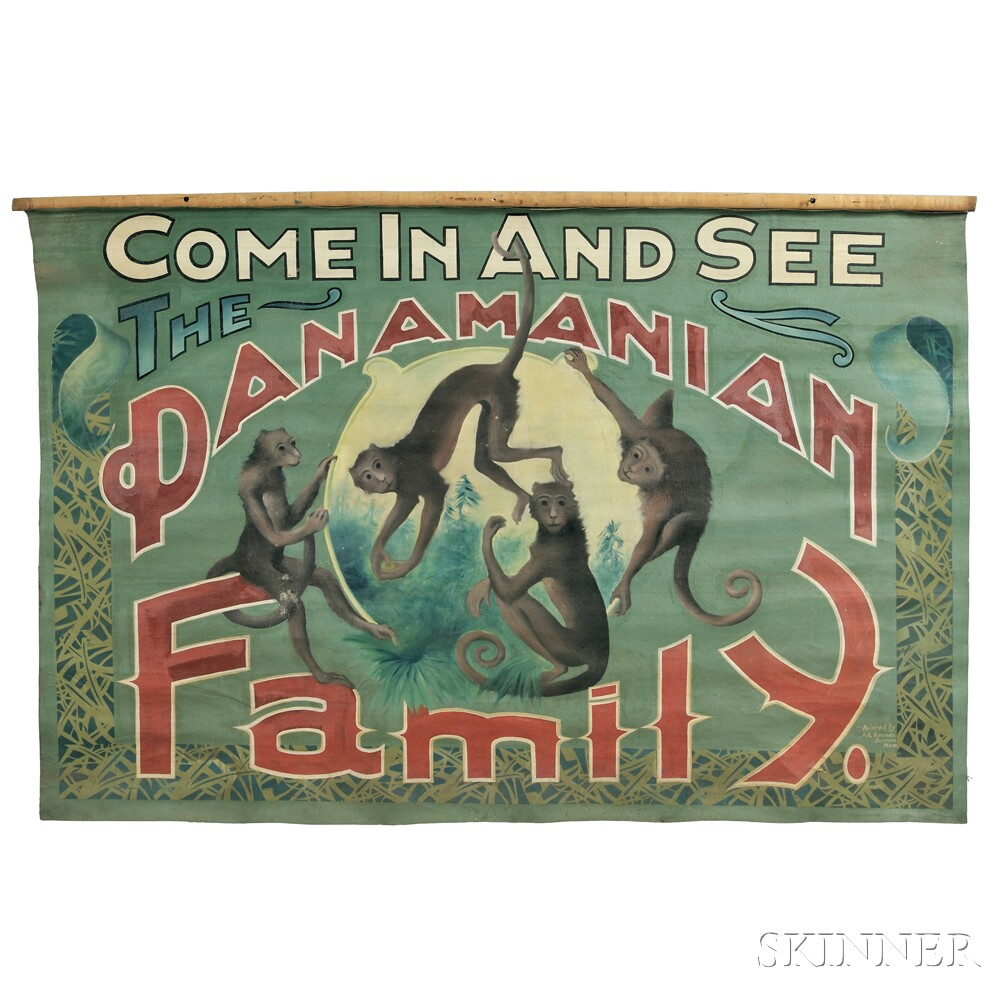 "Painted ""Panamanian Family"" Carnival Banner"