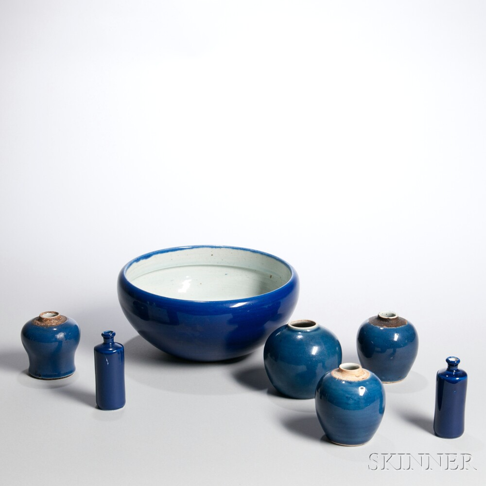 Seven Blue-glazed Porcelain Items