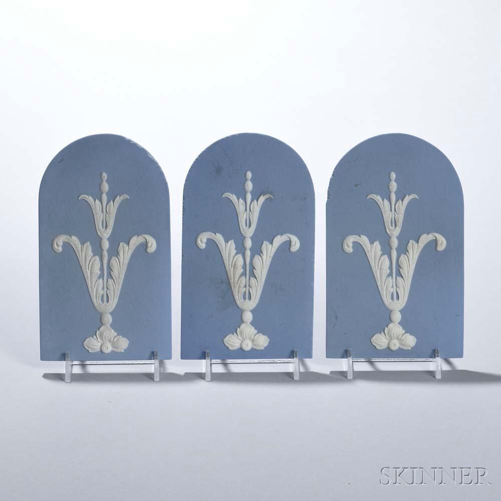 Eighteen Wedgwood Solid Light Blue Jasper Plaques