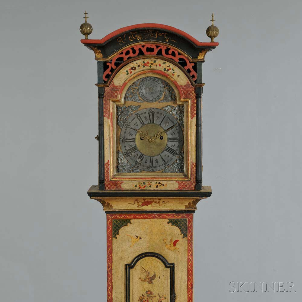 Continental Georgian-style Japanned Tall Case Clock