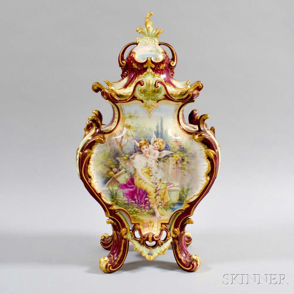 Royal Bonn Ceramic Vase Depicting a Woman and Cherub