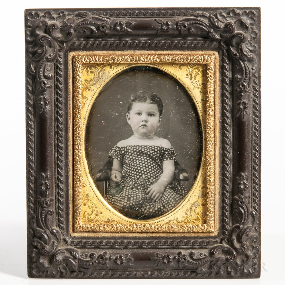 Ninth-plate Tinted Daguerreotype of a Seated Baby