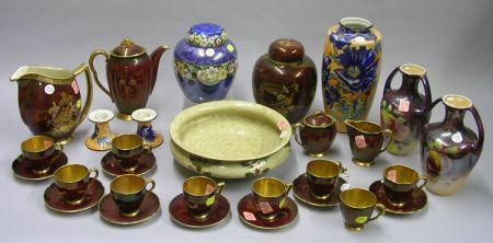 Approximately Twenty-nine Pieces of Carlton, Maling, and Regal Decorated Table Items