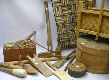 Group of Assorted Woodenware, Decorative, and Domestic Country Items