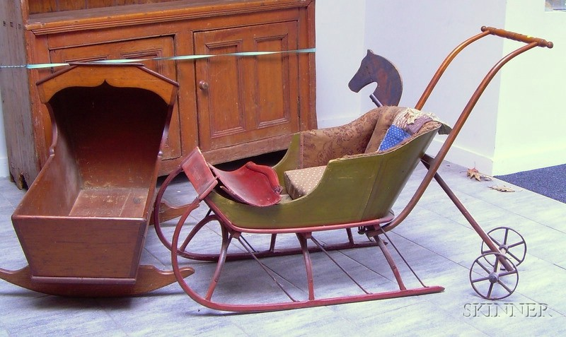 Pine Hooded Cradle, a Childs Painted Sleigh, and a Horse Toy.