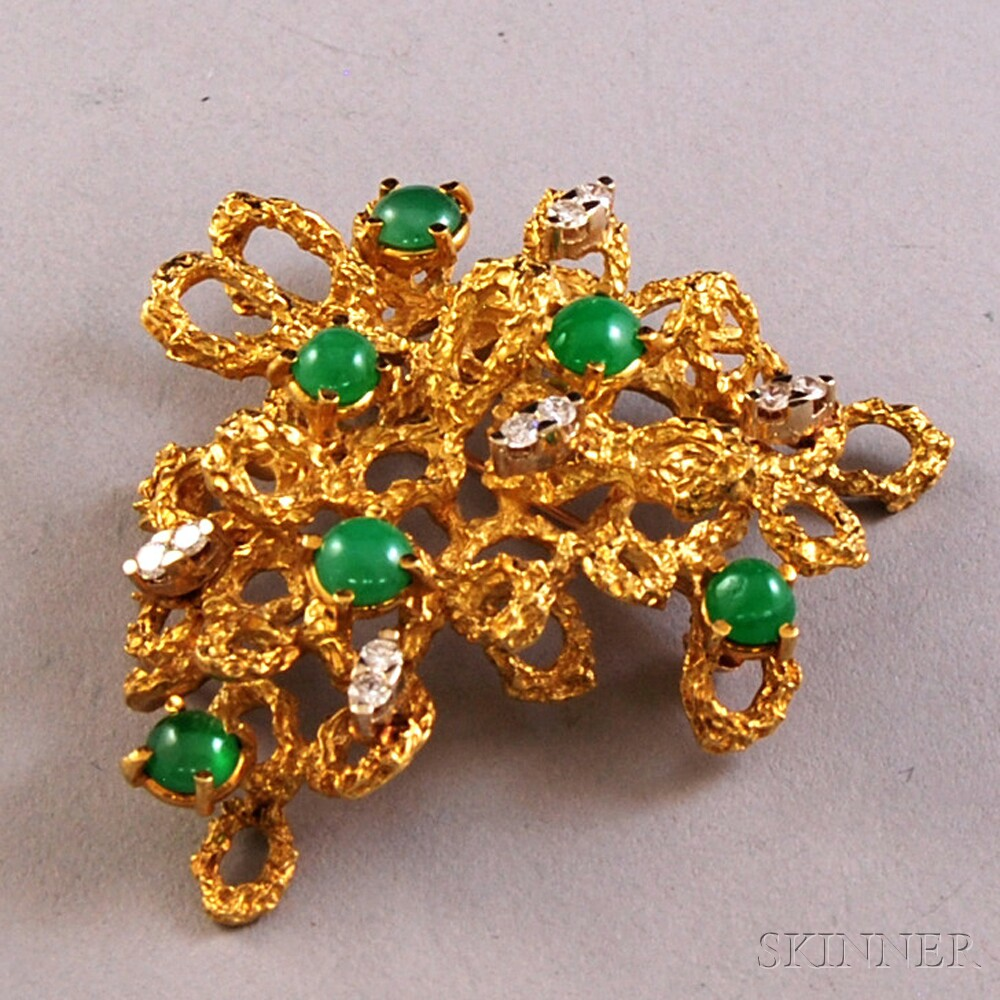 18kt Gold, Chrysoprase, and Diamond Brooch