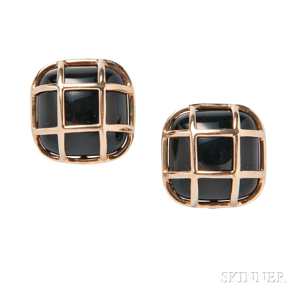 14kt Gold and Onyx Earclips