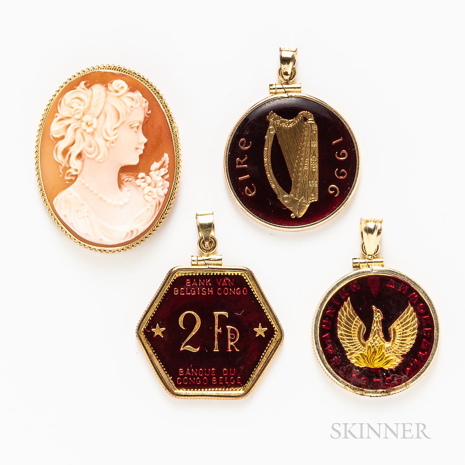 Three Pendants and a Shell Cameo Pendant/Brooch